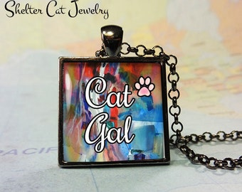 "Cat Gal Cat Necklace - 1"" Square Pendant or Key Ring - Handmade Wearable Photo Art Jewelry - Gift for Her - Cat Lady"