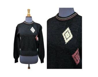 Vintage 1950s Jantzen Wool Sweater ~ Snowbunny ~ Size 38 ~ Diamond Argyle Pattern ~ Gray Pullover with Pink White