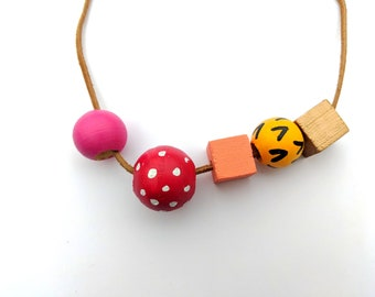 Wood bead necklace- Warm colors