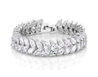 Bridal Cuff, Wedding Cuff, Bridal Bracelet, Wedding Bracelet, Statement Bracelet, Zirconia Bracelet, Bridal Jewelry, Wedding Jewelry, Prom