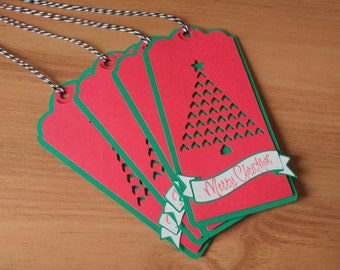 Christmas Tree Gift Tags - Set of 5 Gift Tags - Holiday Wrapping - To From Tags - Red and Green Tag - Christmas Wrapping