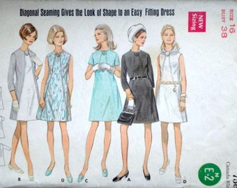 Vintage 60's Butterick 5307 Sewing Pattern, Misses' One-Piece Dress, Size 16, 38 Bust, Mad Men Mod 1960's Fashion