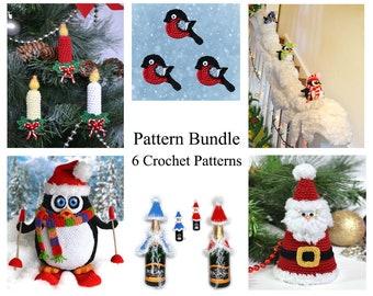 Christmas crochet pattern bundle Crochet winter patterns pack 6 patterns Xmas penguin amigurumi Robin applique Crochet Santa figurine PDF