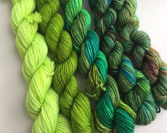 5 Superwash Merino Sock minis Green Delight