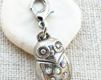 Stitch Marker- Crochet Marker- Owl Knitting Marker- Silver Stitch Marker- Locking Stitch Markers- Removable Stitch Marker- Owl Charm