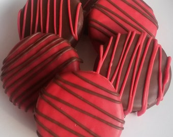 12 Red and Black Chocolate Covered Oreo Cookies - White and Milk Chocolate Flavor