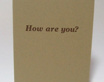 How are you, artist's book