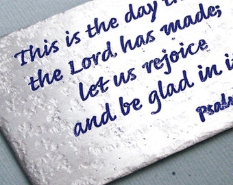 Etched Metal Wallet Card - Psalms 118:24  - Wallet Card Insert - Personalized  - Accessories