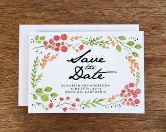 Printable Save the Date Card - Watercolor Flowers - Hand Painted Flowers - Save the Date Download - Save the Date PDF - Garden Wedding