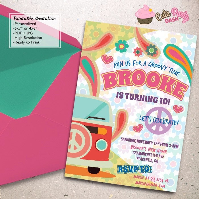 Hippie Chic Birthday Party invitations DIY Groovy Party
