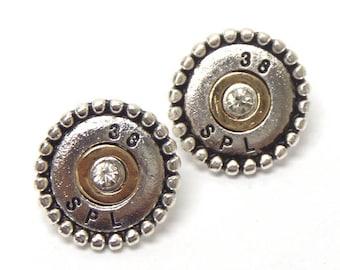 Crystal center bullet stud earrings