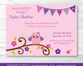 Owl birthday invite etsy pink owl birthday invitation filmwisefo