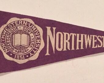 1930's Northwestern University Mini Pennant - Antique College Memorabilia