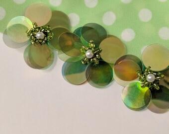 6 Pieces 38 mm Handmade Iridescent Green Large Palette Sequins Daisy Flower Appliques. Great for Flower Hair Accessory,Handbag Sweater Decor
