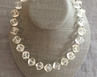 Vintage Lucite Clear Chunky Lightweight Necklace 1950s -Versatile Chunky Lucite Matches Everything and Anything