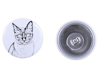 Earrings with a cat -Tonkinese cat