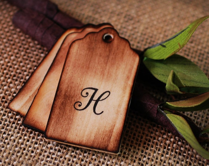 100 Personalized Wooden Wishing Tree Tags Monogram with Rustic Twig Pen