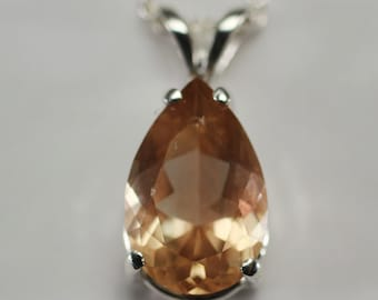 Oregon Sunstone Pink Schiller Pear Tear Shape Necklace in Sterling Silver 2.35 cw #1276