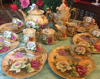 SOLD! Lefton Handpainted tea set for six. 22 pieces.