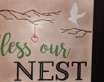 bless our nest canvas