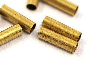 50 Pcs Raw Brass Tube 10 x 3 mm (hole 2.5 mm) industrial brass Charms,Pendant,Findings spacer bead E103Y10011