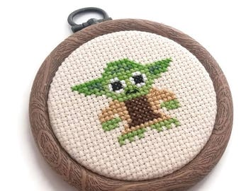 Yoda Cross Stitch-Star Wars Needlepoint-Ready to Hang-Wall Art-May the 4th-Jedi Hoop Art-Geeky Home Decor-Gift for Fans-Sci Fi Hanging-Boys