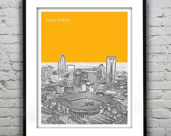 20% OFF Memorial Day Sale - Charlotte North Carolina Skyline Poster Art Print NC Version 3