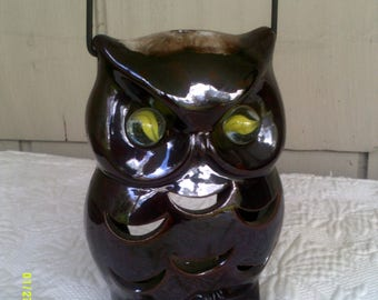 Vintage Ceramic Owl Votive Lantern, Made in Japan by Inarco, Marble Eyes Owl, Owl Candle Holder