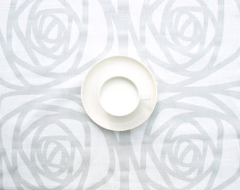 Tablecloth white pale grey abstract roses floral tablecloth , table runner , napkins , curtains , pillows available, great GIFT
