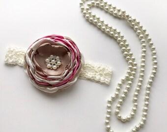 vintage baby headband - pearls necklace - spring headband - birthday headband - flower girl headband - wedding necklace set - flower clip