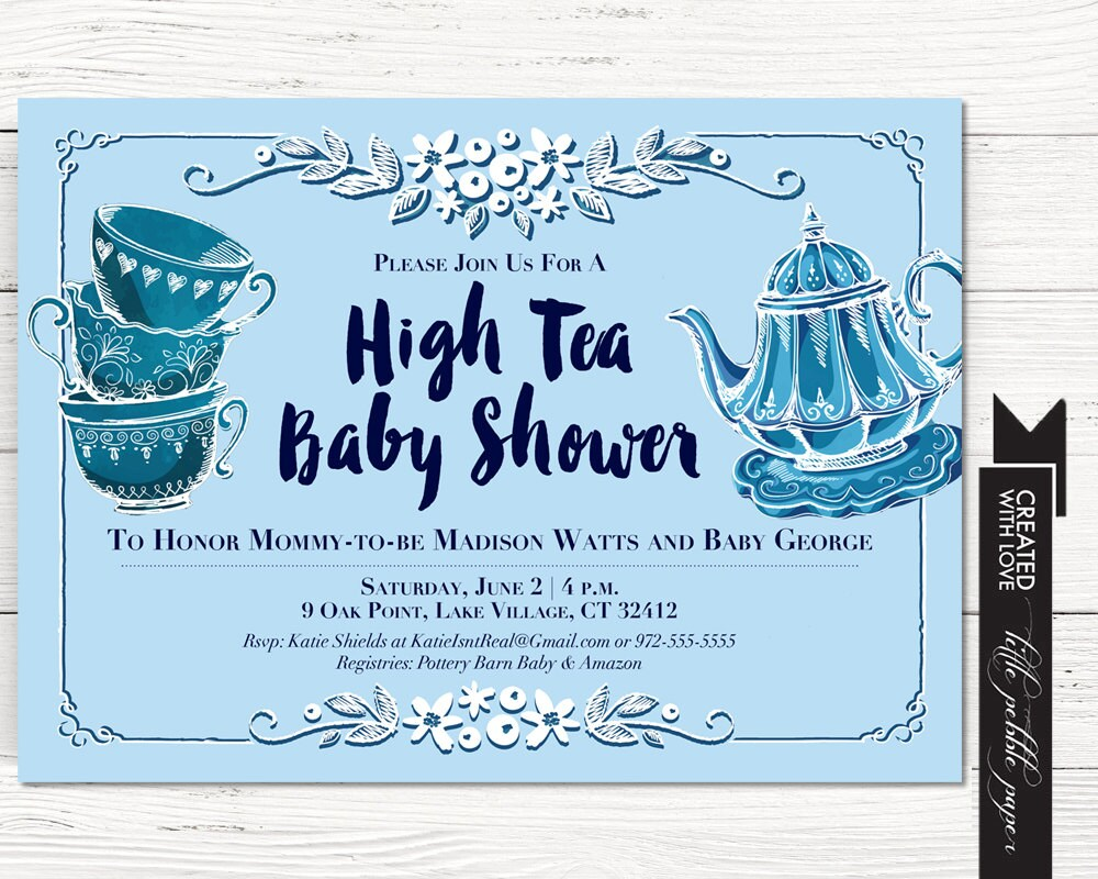 Tea Party Shower Invitation Baby Boy Tea Party Shower High