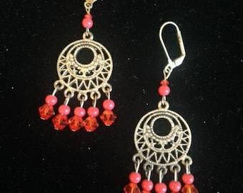 Coral & Silver Chandelier Earrings