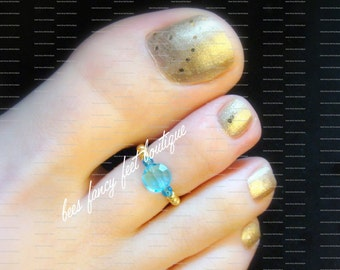 Aquamarine Toe Ring, Aquamarine Ring, Aquamarine Crystal Button Bead, Gold Beads, Toe Ring, Ring, Stretch Bead Toe Ring