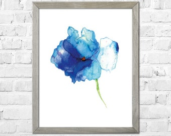 Watercolor flower print, Flower painting, Flower Art Print from Original Painting, Abstract flower, Blue flower, Watercolor art