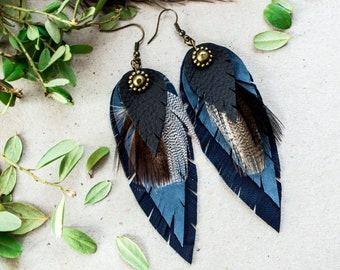 Dark blue  Earrings  Feather Earrings Leather Feather Long Earrings Boho Earrings Boho Jewelry Handmade Leather Jewelry FD008