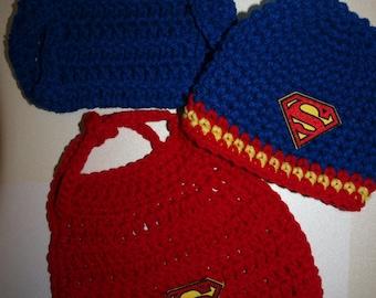 handmade newborn Superman hat, diaper cover and cape, baby Superman hat, diaper cover and cape, newborn Superman outfit, baby Superman
