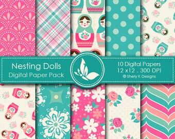 Nesting Dolls Paper Pack - 10 Printable Digital Scrapbooking papers - 12 x12 - 300 DPI