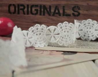 """1"""" wide white Lace trim,forial  sewing ribbon"""