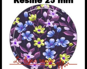 Round cabochon glue resin 25 mm - blue Floral (19) - flower fields