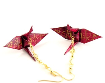 Hearts and Love Origami Crane Earrings, Gold Love Kanji on Cranberry Red Jewelry