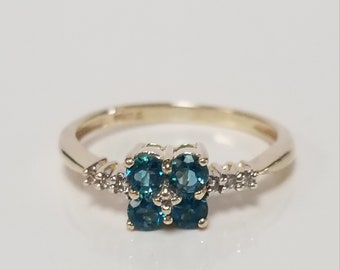 Size 6.25 Estate 14k Yellow Gold Blue .25ct Zircon Aquamarine .50ct Diamond Ring Band RY102