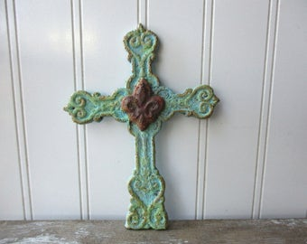 Rustic cast iron cross aqua faux rust fleur de lis turquoise verdigris wall hanging metal cross Spiritual Christian decor small cross SA1