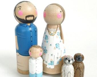 Custom peg doll family of 5 // 2 parents // 3 kids/pets // personalized peg dolls // wooden dolls // custom family portrait // wooden toys