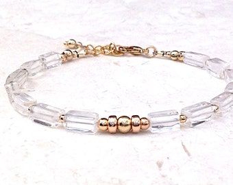 Women's Bracelet - 14k Gold Filled Bead Bracelet - Chrystal Bracelet - Handmade Bracelet - Everyday Bracelet Jewelry  - Simple Bracelet -