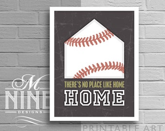 """Printable Wall Art """"No Place Like Home"""" Baseball Quote Frame Art Printable Quote, Motivational Print, Sports Décor, Wall Décor 47S3"""
