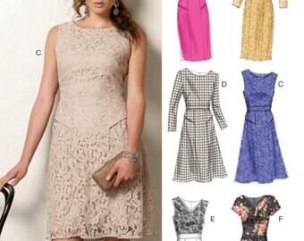 Vogue V8949: Dress, Sleeveless, Long Sleeve, Short Sleeve, Boat Neck, V Neck, Fitted Skirt, Flared Skirt, Brand New, Size 16-24, Easy Option
