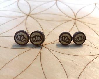Mini Lotus Flower Earrings - Wood Earrings - Birch