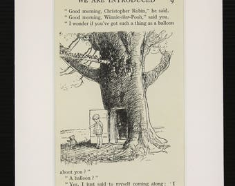 Mounted Winnie The Pooh Print, Pooh meets Christopher Robin. Matted Vintage 1930s Black and White Print