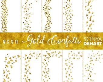 80% OFF SALE Confetti Digital, Digital Borders, Confetti Clipart, Border Clipart, Border Clip Art, Digital Confetti, Gold Clipart CA234