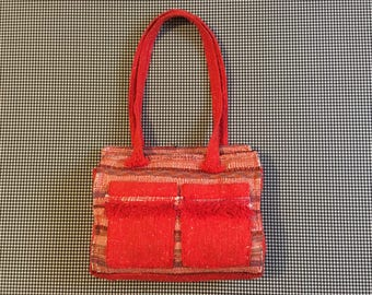 1980's, woven, rag-rug, bag, in bright red-orange